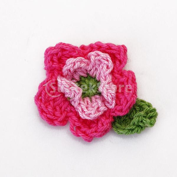 Free Shipping 10pcs 5 Petal 2 Layer Handmade Crochet Flower