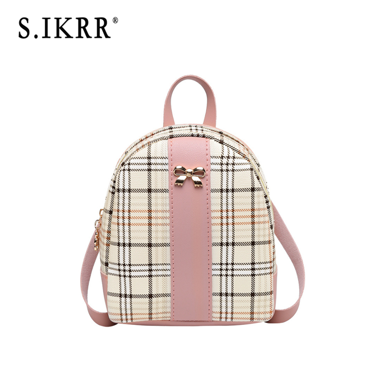S.IKRR Women Woven Backpack School Rattan Bag Student School Bags For Teenage Girls Summer Beach Bag Travel Mini Backpack Sac