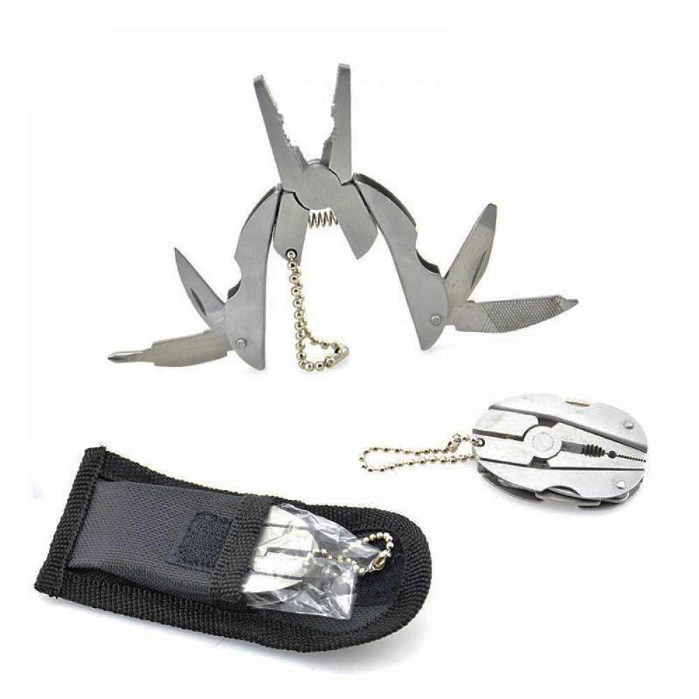 Portable Multifunction Folding Plier Stainless Steel Foldaway Knife Keychain Screwdriver Camping Survival EDC Tools Travel Kits outdoor multifunction camping tools axe aluminum folding tomahawk axe fire fighting rescue survival hatchet