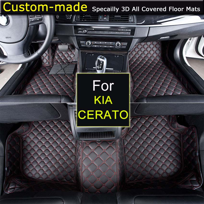 Car Floor Mats for KIA Forte Koup Cerato Custom Carpets Car Styling Customized Specially Made Black Brown Beige for volkswagen vw polo firm leather wear resisting car floor mats black brown non slip custom made waterproof car floor carpets