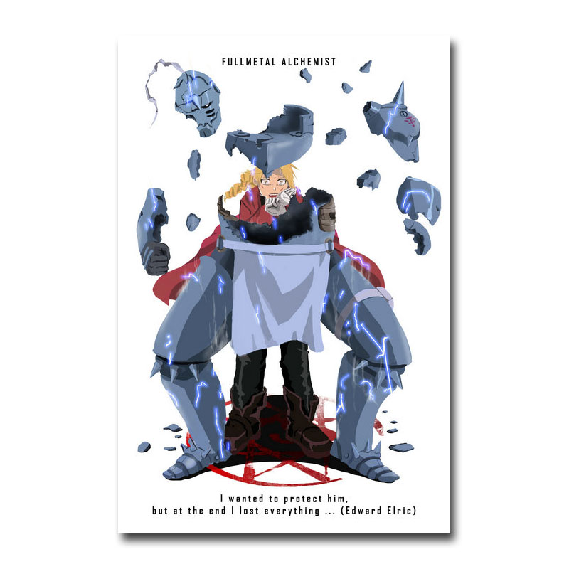 "Fullmetal Alchemist Anime Silk Fabric Poster Print 13x20 24x36/"" Edward Elric 006"