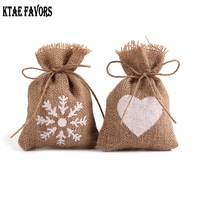 50X Love Heart Eco Friendly Jute Burlap Bags Wedding Favor Candy Pouch Gift Bags Baby Shower Vintage Rustic Wedding Decoration