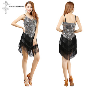 Image 4 - Latin Dance Dress Sexy Fringe Women Dance Costumes New Fashion Sleeveless Sequin Dress Performance Clothing cheap