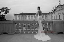 free shipping vestido de noiva new fashionable casamento 2014 sexy long sleeve lace bride romantic wedding dress bridal gown