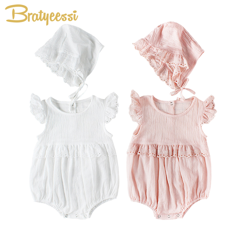New Princess Baby Girl   Romper   with Hat Cotton Ruffles Lace Summer Newborn   Rompers   Toddler Baby Girl Clothes Pink White