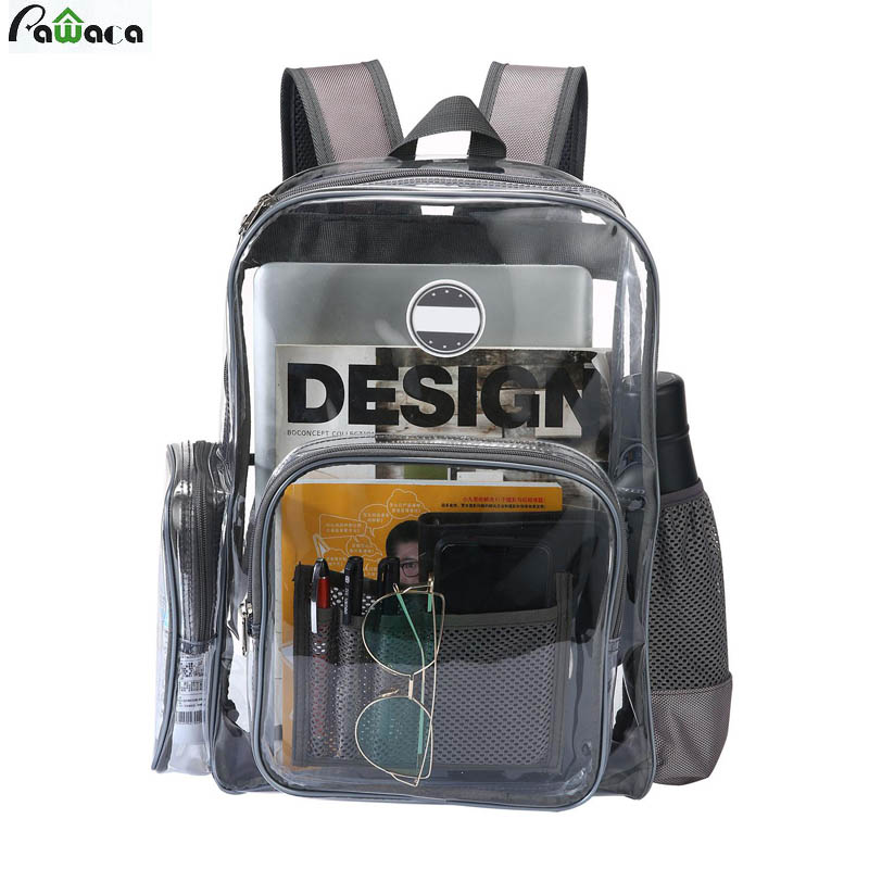 Pawaca Heavy Duty Clear Transparent Pvc Backpack For Adults And Students See Through Bookbag Knapsack Daypack Backpack #1