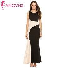 bab130af ANGVNS mujeres Formal sirena Vestidos contraste Color Patchwork Fitness Vestidos  elegantes sin mangas fiesta Maxi Vestidos