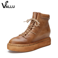 Height Increasing Women Shoes 2018 New Arrival Natural Leather Ankle Boots Lace Up Casual Platform Women