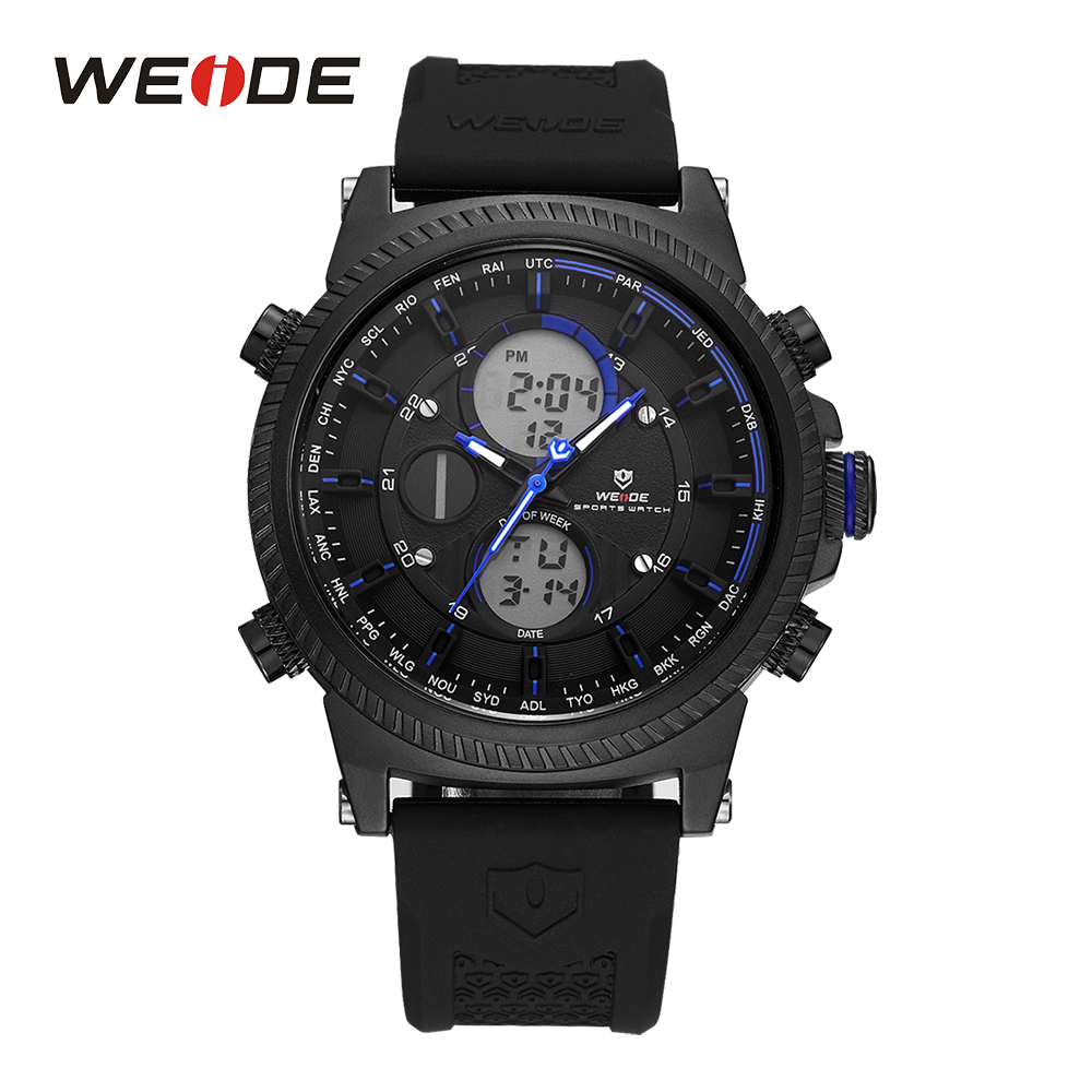WEIDE Sport Men Digital Date Day Black And Blue Quartz Watches Stopwatch Backlight LCD Alarm Silicone Band Military Wristwatch weide men black running outdoor date day repeater back light stopwatch sports quartz watch alarm clock strap military wristwatch