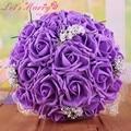 WDZ-278 Colourful Buque De Noiva Mixed Colors PE Rose Decor Bridal Bouquet Wedding Ramos De Novia 6 Colores Bouquet De Mariage