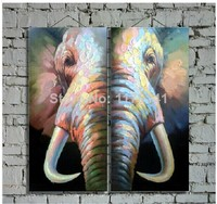 Wholesale Original High Quality Elephant Oil Paintings On Canvas 2pcs/set Decor picture Wall Art Paints In Hotel Office Home