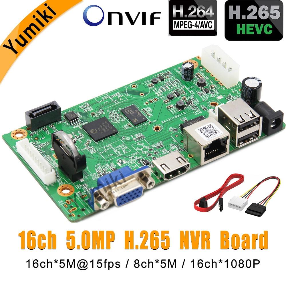 16CH * 5.0MP H.265/Vidoe Gravador DVR Placa de Rede H.264 NVR Inteligente Analys ONVIF IP Câmera com Linha SATA CMS XMEYE