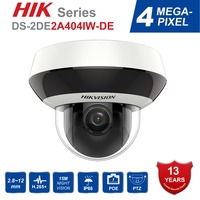 Hik PTZ IP Camera H.265 DS 2DE2A404IW DE3 4MP 4X Zoom 2.8 12mm lens Network Video Surveillance POE Dome CCTV Camera Audio