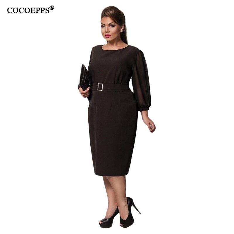 127a1a0cbf21d 2018 Autumn Large Size Chiffon Dress Black Loose Plus Size Long Sleeve Midi  Dress Office OL Style Work Dress Women Cloth 6XL-in Dresses from Women s ...