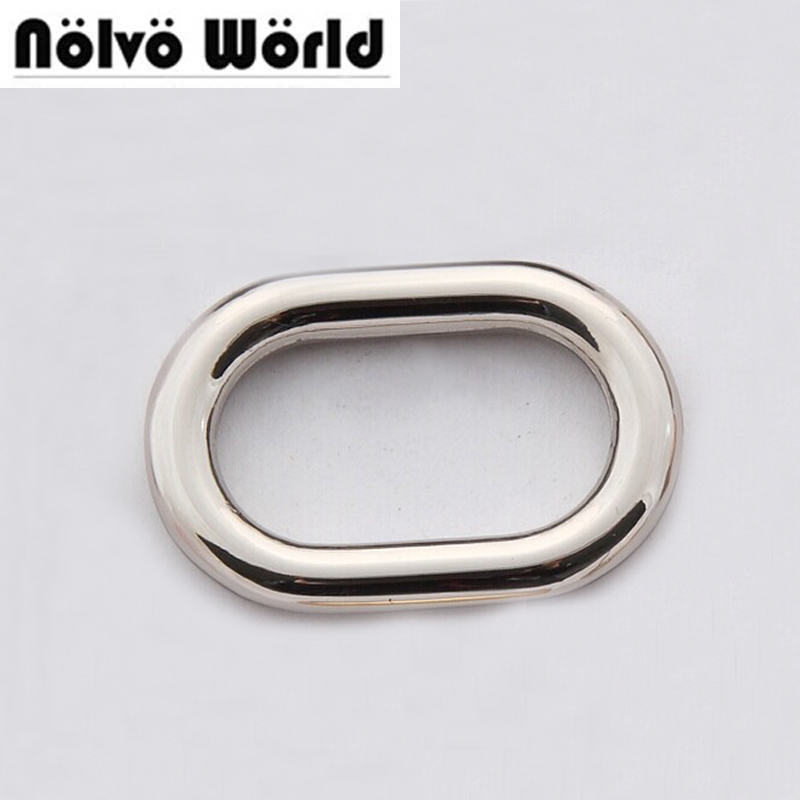 100pcs Inner 25mm 1 Inch Polish Nickel Welded Round Edge Oval Ring Metal For Bags Belts Webbing Strap Adjusted Craft
