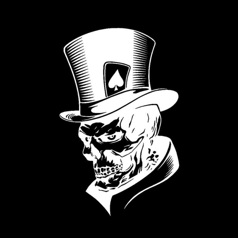 Yjzt 11.3*17.6 Cm Indah Joker Kerangka Tengkorak Bermain Kartu Poker Rakasa Topi Mobil Stiker Vinyl C12-0010