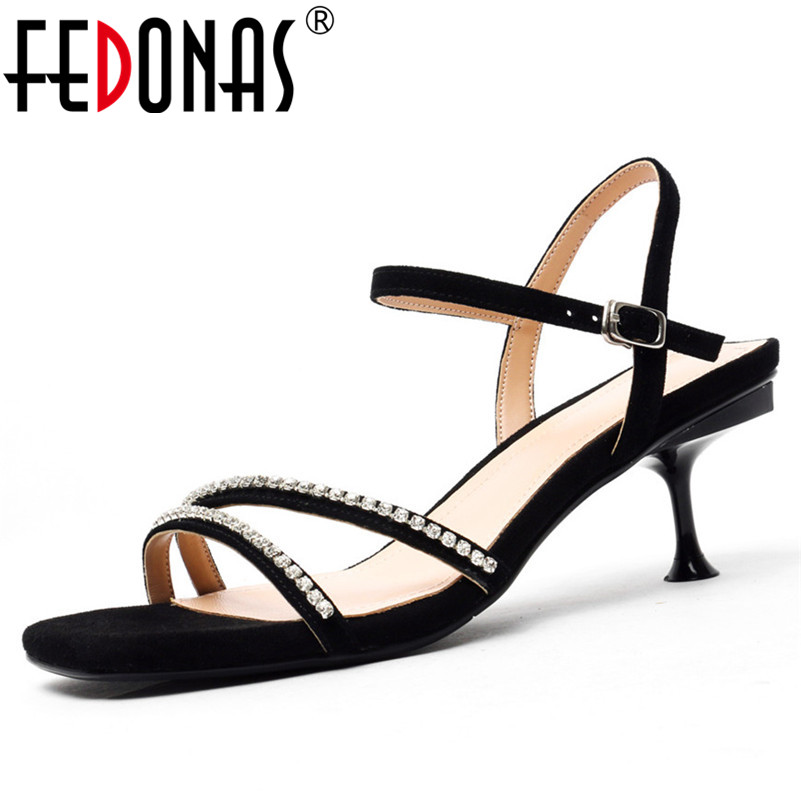 FEDONAS Fashion Elegant Women Sandals 2019 Summer New Kid Suede High Heels Classic Sexy Shoes Woman Party Wedding Prom Shoes  FEDONAS Fashion Elegant Women Sandals 2019 Summer New Kid Suede High Heels Classic Sexy Shoes Woman Party Wedding Prom Shoes