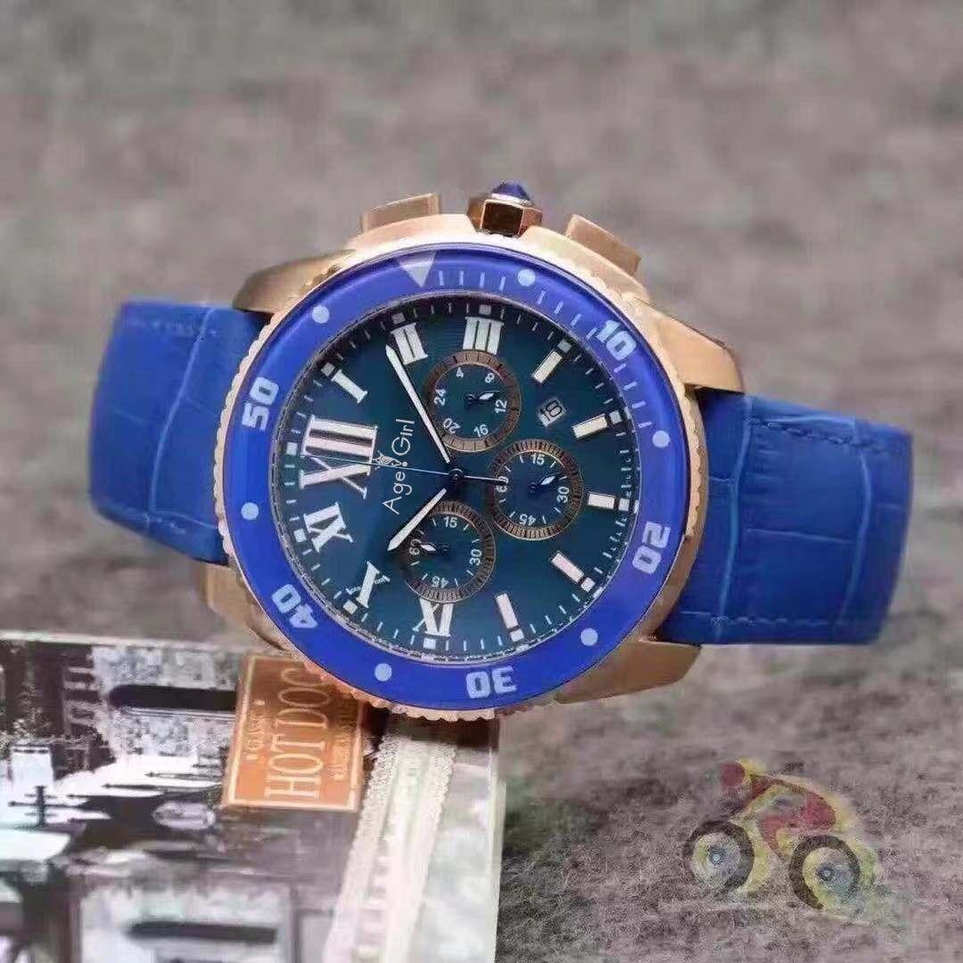 Marque de luxe nouveaux hommes montre chronographe chronomètre en acier inoxydable saphir en céramique bleu Rose or noir en cuir montre calendrier