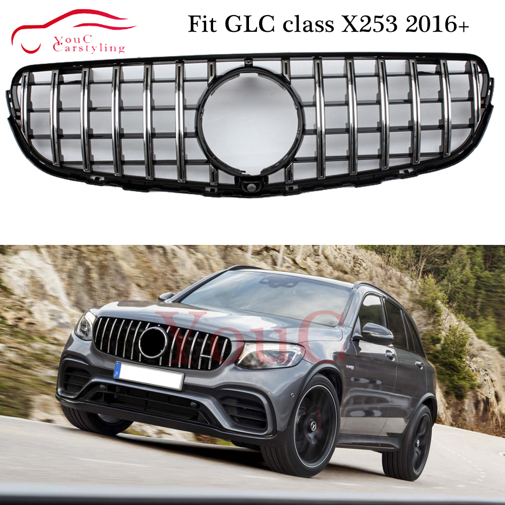 W253 GT grille Front Hood GT R GTR Bumper Grill Mesh for Mercedes GLC class X253 C253 5-door Coupe SUV 2016 + GLC250 GLC300 image