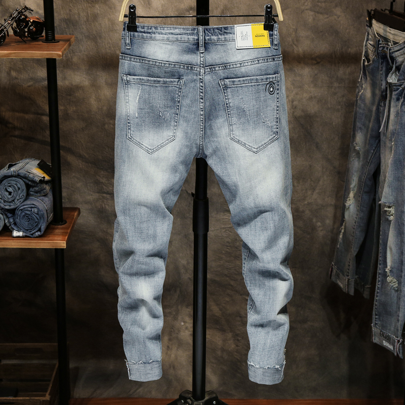 KSTUN Ripped Jeans for Men Skinny Jeans Men Light Blue Stretchy Cropped Streetwear Pattern Denim