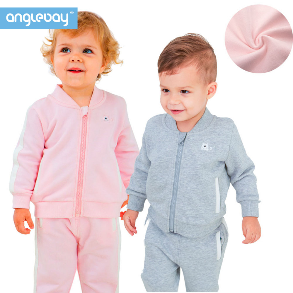 Anglebay 100% Combed Cotton Newborn Baby Boy Girl Set Winter Sweatshirt Two Piece Set Baby Infant Sweatshirt with Zip Top+Pant sat8207 pressure regulator pressure gauges
