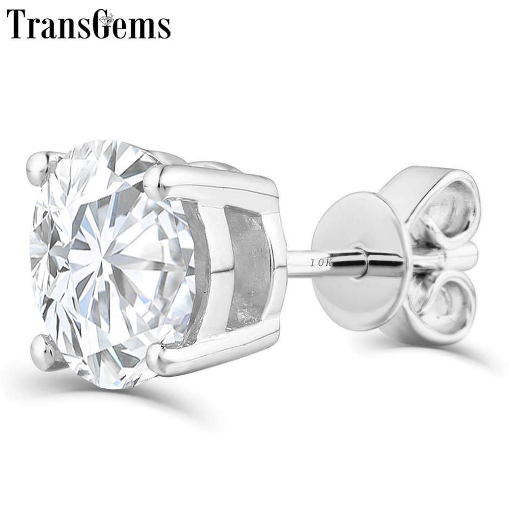 Transgems Platinum Plated Silver 2ctw 6 5mm GH Color Moissanite Stud Earrings for Women Push Back in Earrings from Jewelry Accessories