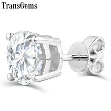 Transgems Platinum Plated Silver 2ctw 6.5mm GH Color Moissanite Stud Earrings for Women Push Back