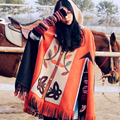 MX010 New Arrival 2016 color block tassel hem hooded Indian Style coat oversized suede outwear women cloak