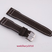 22mm genuine Leather Strap Wristwatch band fit parnis men's watch