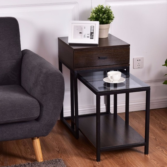 Goplus 2PCS Set Nesting Modern Coffee Side Table Wood Portable End Table Metal Frame Glass Top Coffee Tables with Drawer HW56083 1
