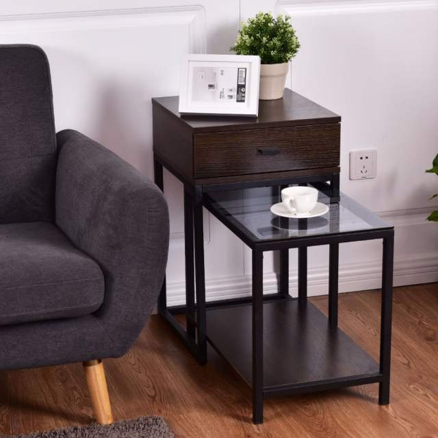 Online Shop Goplus 2pcs Set Nesting Modern Coffee Side Table Wood