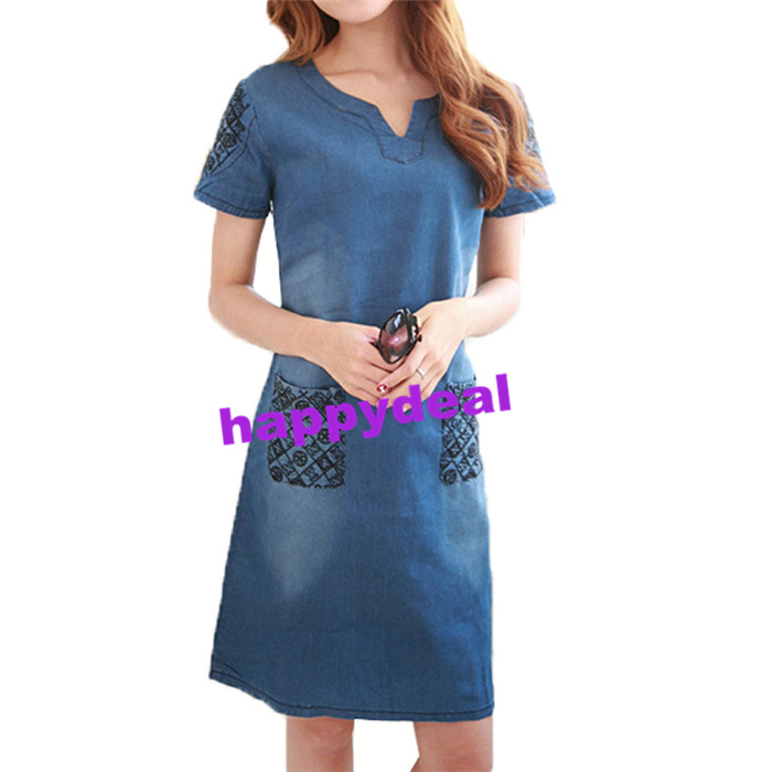 fd8642f17e5 Lace Girl 2018 Summer Denim Dress Women's High Quality Women V neck ...