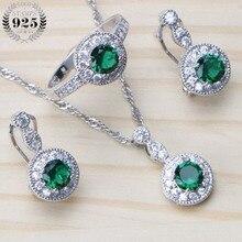 925 пробы серебряные свадебные ювелирные наборы, свадебные серьги-капли с цирконием для женщин, ювелирные изделия для костюма с кольцом, ожерелье