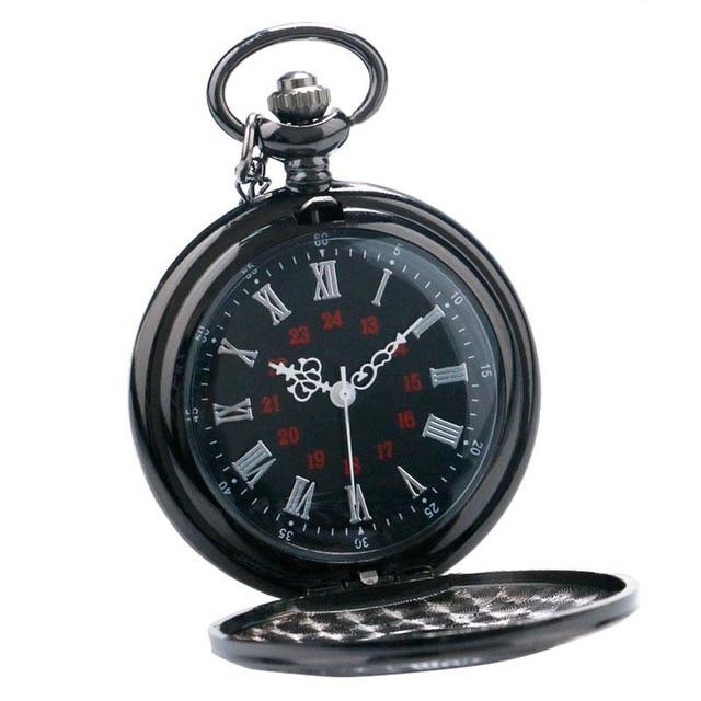 Ms Roman Hollow Retro Black Quartz Watch Super Male Pocket Watch LXH