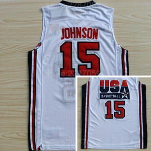 3d4cebd0b247 Ediwallen 15 Magic Johnson Basketball Jerseys USA 1992 American Dream Team  One Johnson