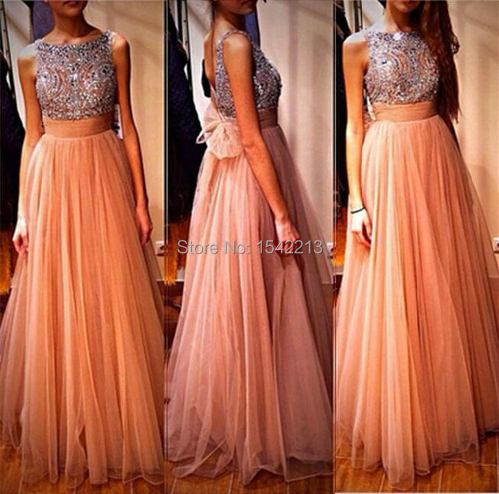 Orange and Black Long Dress for Prom