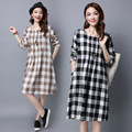 Maternity Clothes New 2017 Long-sleeved Large Size Women's Casual Long Plaid Pattern Dresses for Pregnant Female Vestidos YFQ039