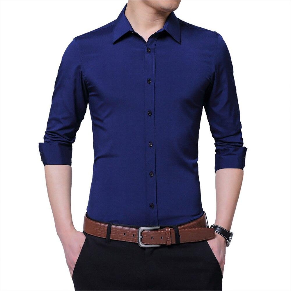 2018 Mode Männlichen Shirts Beiläufige Lange Ärmeln Hemd Slim Fit Mann Social Business Kleid Hemd Marke Männer Kleidung Plus Größe 5xl