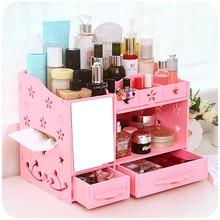 Europe Fashion Makeup Cosmetic Organizer Wooden Storage Box Desk Organizer For Cosmetics