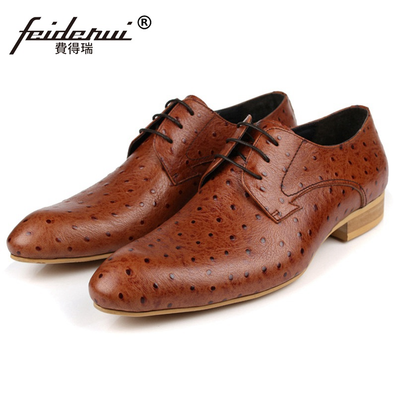 Fashion Ostrich Grain Formal Man Dress Shoes Genuine Leather Designer Oxfords Luxury Brand Men's Wedding Footwear For Male FD87 vesonal 2017 brand casual male shoes adult men crocodile grain genuine leather spring autumn fashion luxury quality footwear man