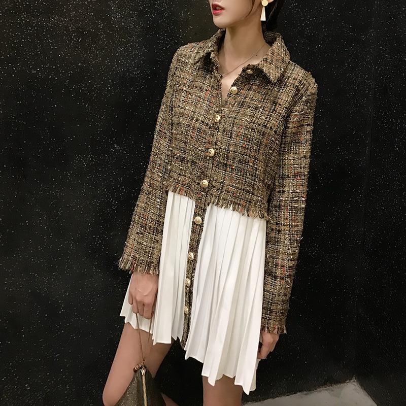 SuperAen New Women s Woolen Dress 2018 Autumn Fashion Long Sleeve Ladies Dress Chiffon Splice Europe