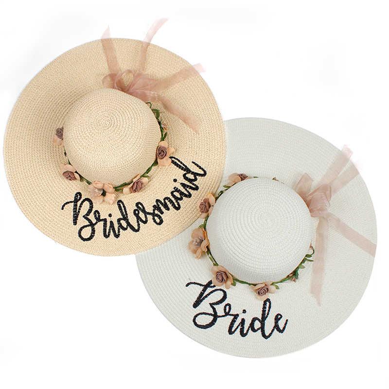 e74981fe8ce brand new beach wedding bride floppy Flowers Sun Hats Honeymoon bride smaid  maid of honor bridal
