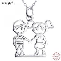 Fashion 1 Pcs Unisex Boy Girl Character Shape Pendant Necklace 925 Sterling Silver Necklace For Lovers