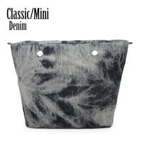 新しいデニム生地ソフト防水デニム挿入ライニング内側ポケット用obagクラシックミニoバッグ女性のバッグハンドバッ