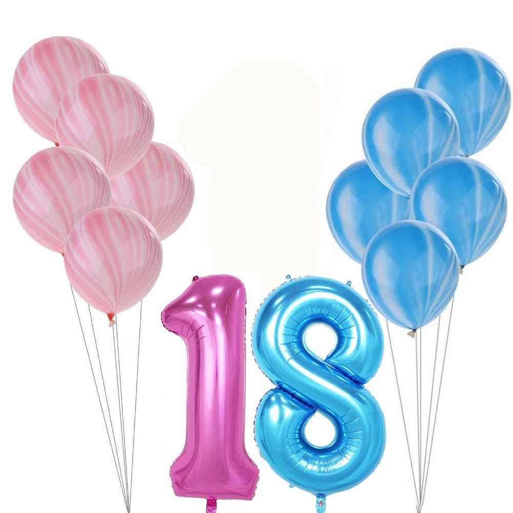 11pcs Set Birthday Balloon Blue Pink Number Foil Balloons 1 2 3 4 5 6