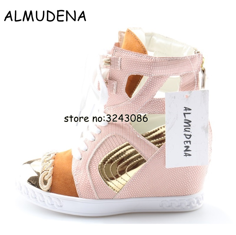 Pink Black White Women Wedge Crocodile Leather Ankle Boots Height Increasing Lady Platform Casual Shoes Mixed Color Lace Up fashion lady flats platform shoes lace up height increasing white zapatillas woman brand casual shoes mixed red blue big size 10