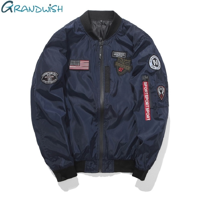 Grandwish Navy Bomber Jacket Men Pilot With Patches 2018 New Mens Flight Jacket Patch Bomber ...