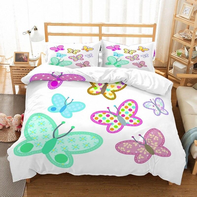 Fanaijia Kids Bedding Set Queen Size Cartoon Butterfly Print Duvet Cover And Pillowcase Bed Set Children Bed Linen Bedding Sets Aliexpress