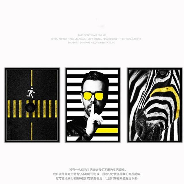 cb1a3872d Cartaz Um Homem Com óculos de Sol Amarelo preto Zebra-stripe Gradiente  Simples Arte Poster