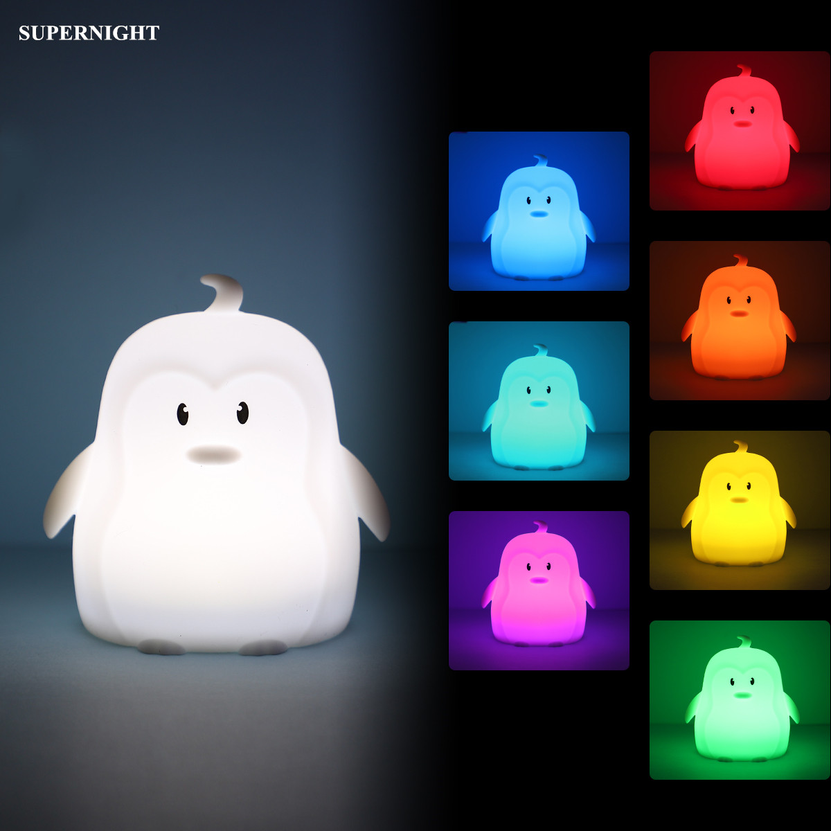 Mini Penguin LED Night Light 9 Colors 3 Modes Silicone Cartoon Animal Lamp Bedroom Bedside Lamp For Children Kids Baby Nursery